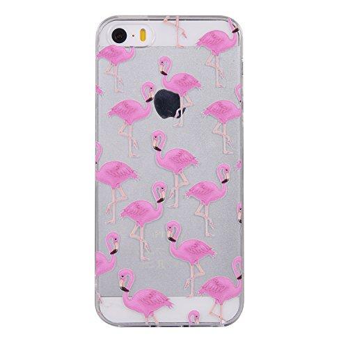 Pour iPhone 5 5S 5G / iPhone SE Case Cover, Ecoway TPU Soft Silicone motifs peints Housse en silicone Housse de protection Housse pour téléphone portable pour iPhone 5 5S 5G / iPhone SE - Flamant Flamant