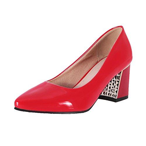 Mee Shoes Damen süß chunky heels Lackleder Geschlossen Pumps Rot