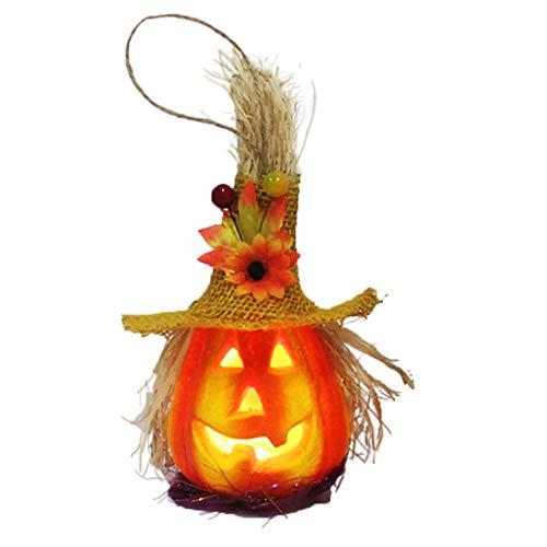 Huhuswwbin decorazioni luminose di zucca di halloween, zucca con cappello lanterna lampada a led a led per decorazioni per agrifoglio natalizio per feste a casa per feste da bar yellow