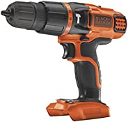 Black+Decker Cordless Hammer Drill with 11 Torque Settings, 18V, Battery Not Included - BDCH188N-XJ, 2 Years W