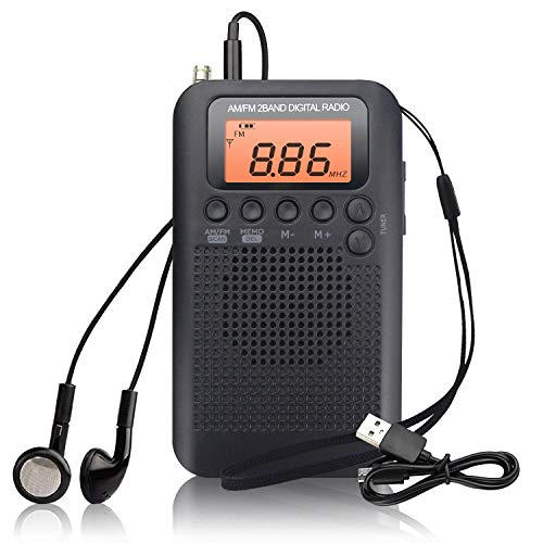 Mini Portable Radio Small Digital Pocket Radio with Speaker Sound Alarm Clock FM / Am Stereo DSP Tuning Receiver with Headphones for Home Shower Kitchen Running Walking Hiking