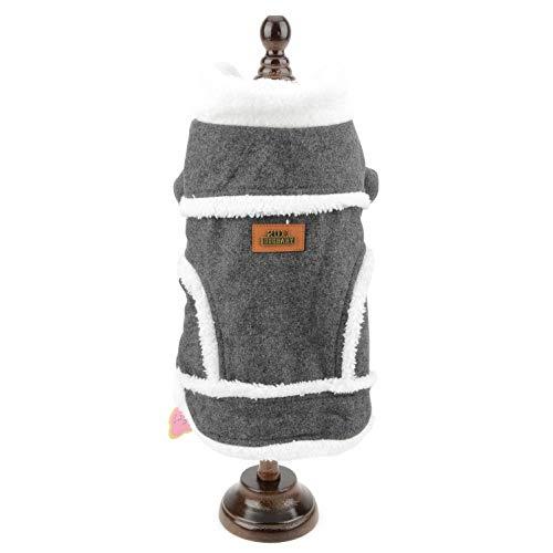 SMALLLEE_LUCKY_STORE Veste Manteau d'hiver Doudoune Chien Polaire Doublée Laine Fourrure Chaud Fashion Vêtement Nordique Chihuahua pour Petit Chien Gris M
