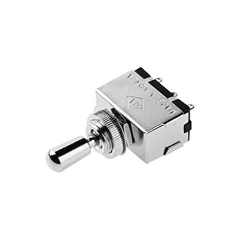 JD Metall Electric Gitarre 3Way Box Toggle Switch für Les Paul mit Messing Spitze chrom (Toggle-schalter)