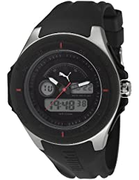 Puma Fuel Unisex Digital Watch with LCD Dial Analogue - Digital Display and Black PU Strap PU911021001