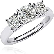 LANDA JEWEL Women's Solid Sterling Silver Three Stone Trellis Simulated Diamond Ring Promise Engagement ri