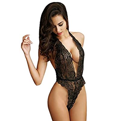 Sexy Lingerie, Rcool Women Girls Sexy Lingerie Teddy Deep V Halter Lace Bodysuit Fun Lingerie Pajamas Sexy Wild Temptation Ladies Three Point Harness Perspective Underwear Sets