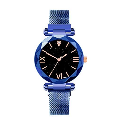 VICKY-HOHO-Schmuck & Uhren Halsketten &Körperkette/Uhren Sternenhimmel frauen uhr wasserdicht magnet edelstahlband kostenlos schnalle geschenk (B) (Titan Halsketten Prime)