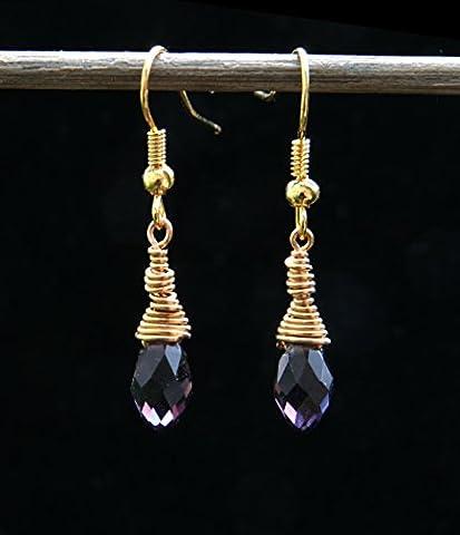 Earrings. Faceted Quartz tanzanite crystal briolette Gold plated drop earrings. 37mm. Freeform design. Art