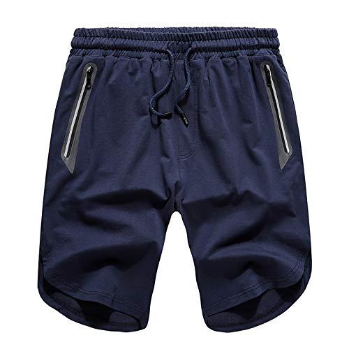 LOJF Shorts Art- Und Weisetaschen-Kurzschluss-Mann-Strand-Unterseite Normallack-Beiläufige Kurzschluss-Mann-Klassischer Art-Strand-Kurzschluss L Blau
