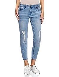 oodji Ultra Donna Jeans Cropped Strappati
