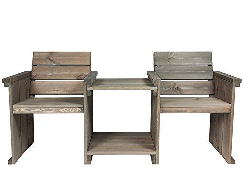 Gartenbank 'Danish Design' 180 cm, Doppelsitz, Kiefernholz, grey wash gebeitzt, verwittertes Aussehen