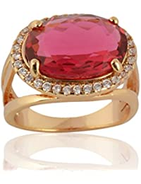 Sanaa Creations Gold Plated Pink Diamond Ring For Girl's And Women's