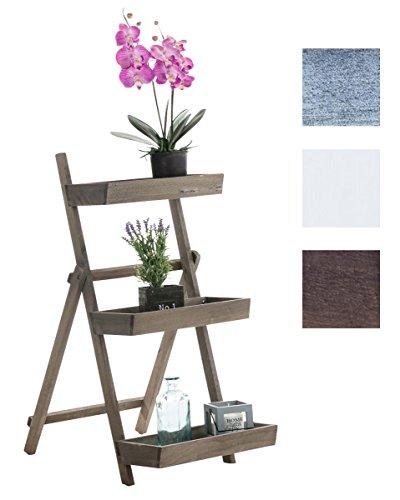 CLP Escalera de Flores Estantería Rita I Estantería de Escalera con 3 Estantes I Estantería Decorativa de Madera I Color: Marrón Oscuro