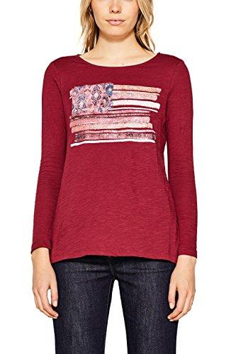 ESPRIT Damen Langarmshirt 107EE1K025 Mehrfarbig (Cherry Red 615), X-Large (Cherry Damen Shirt)
