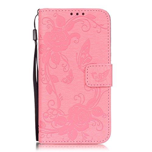 iPhone 7 4.7 Custodia (Con Gratuito HD Proteggi Schermo) CaseHome Cacciatore di sogni Mandala Fiore Sbalzato Progettazione stile del libro Foglio flip magnetico Chiusura Costruito In Stand Full Body Rosa #2