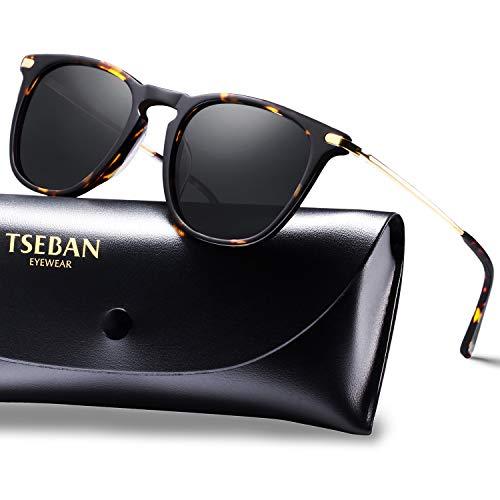 TSEBAN Vintage Damen Sonnenbrille Polarisierte Frauen Brille, Acetat-Rahmen & UV 400 Schutz (Schildpatt)