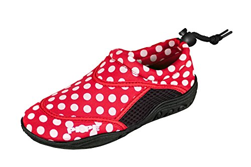 PI-PE Active Badeschuhe Kinder Jungen und Mädchen Aquashoes Schwimmschuhe (Red/Point, 23)