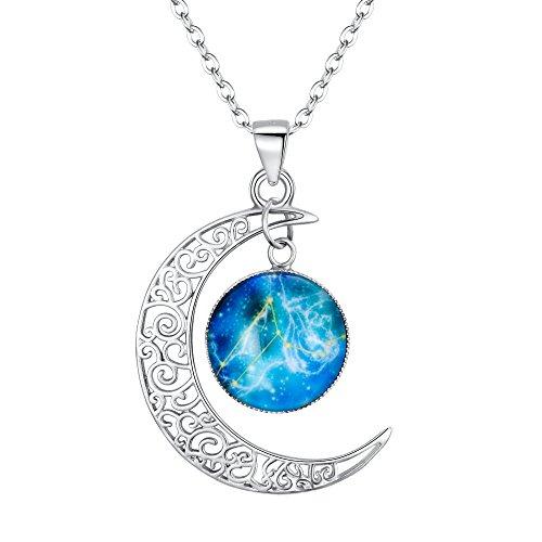 Clearine Halskette Damen 925 Sterling Silber Horoskop Tierkreis 12 Konstellation Astrologie Galaxis & Halbmond Mond Glas Bead Anhänger Hals-Schmuck Löwe