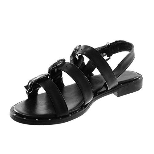 Angkorly Scarpe Moda Sandali con Cinturino Alla Caviglia Gladiatore Donna Fibbia Borchiati Multi-Briglia Tacco a Blocco 2 cm Nero