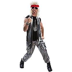 Disfraz de Glam Rock para Hombre de los años 80 balancín de Metal Pesado Gran Pelo 1980s Vestido de Lujo para Adulto - Grande (42-44 Pulgadas / 107-112 cm Pecho)