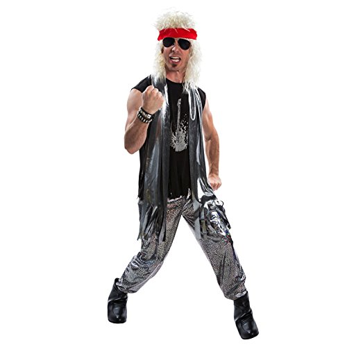 * NEW * Mens Glam Heavy Metal Big Hair 1980s Fancy Dress Costume