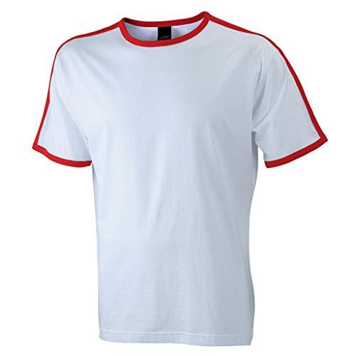JAMES & NICHOLSON T-Shirt mit Kontraststreifen White/Red