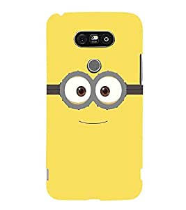 For LG G5 :: LG G5 Dual H860N :: LG G5 Speed H858 H850 VS987 H820 LS992 H830 US992 two big eye, big eye, yellow background Designer Printed High Quality Smooth Matte Protective Mobile Case Back Pouch Cover by APEX
