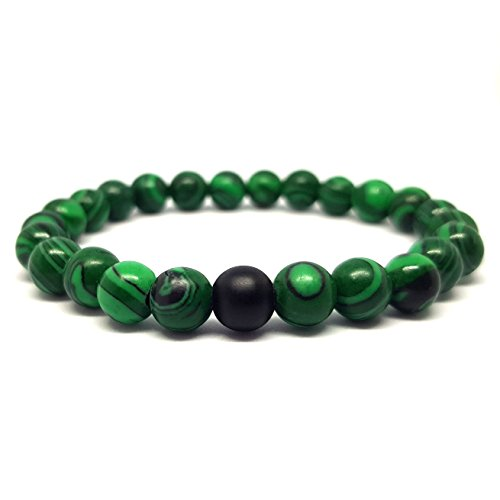 KARDINAL.WEIST Naturstein Perlenarmband aus Malachit mit Onyx Perle, Chakra Schmuck für Damen und Herren, Yoga Armband, Energie Armband (1 - Malachit)