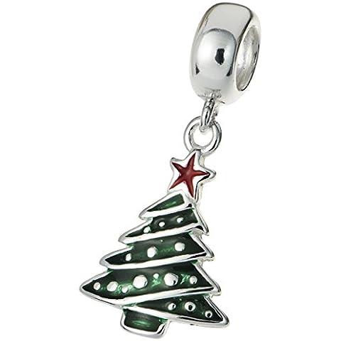 Albero di Natale in argento Sterling 925smaltato pendente per Charm per braccialetti europei