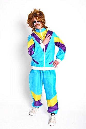 Jahre Kostüme Motto 80er (Original Lizenz Foxxeo 80er Jahre Kostüm für Herren Trainingsanzug Training Assianzug Assi in Hellblau hellblauer Anzug Hartz 4 Mottoparty Motto Penner Gr. 48/50 (M), 52/54 (L), 54/56 (XL),)