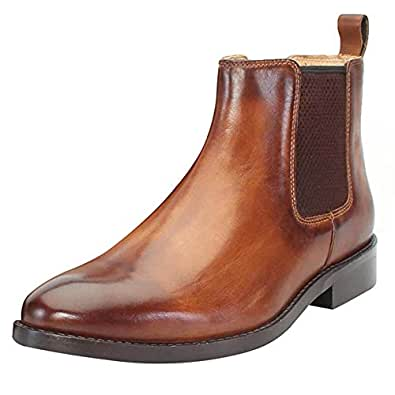 Brune Men Tan Color Ankle Chelsea Genuine Leather Boots