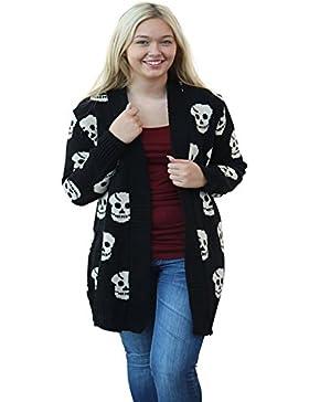 Zara Fashion-Skull Stampa maglia maglione cardigan della parte superiore del -Women