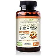 Turmeric Vitality Triple Strength Organic Turmeric with 95% Curcumin - Ginger & Black Pepper for Maximum Absorption – High Strength Capsules 2130mg Per Serving | Certified Organic