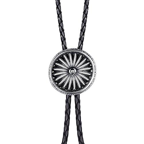 MASOP Spiral Ornament Art Deco Bolo Tie Neckwear for Mens Antique Silver Tone