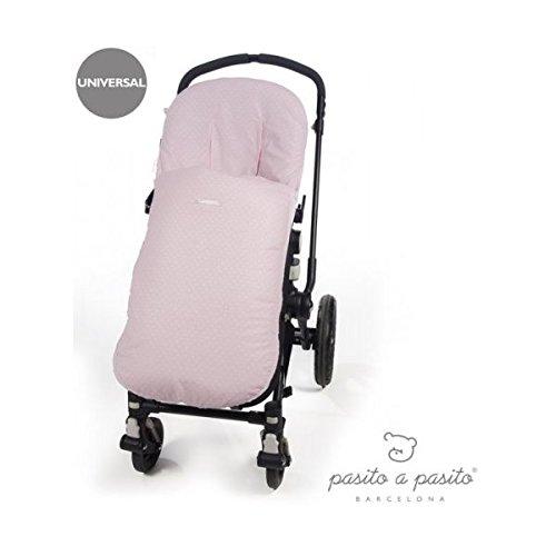 Pasito a Pasito - Funda Atelier en topito rosa ideal para cubrir la silla de paseo provista de saco