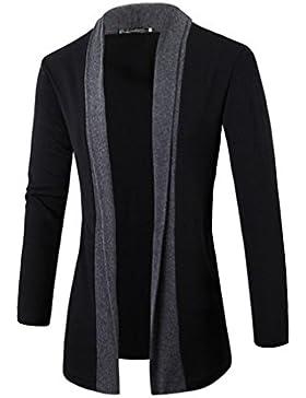 Casual Manga Larga Cárdigans para Hombre, Honghu Ocio Collar de Solapa Sweater Outwear