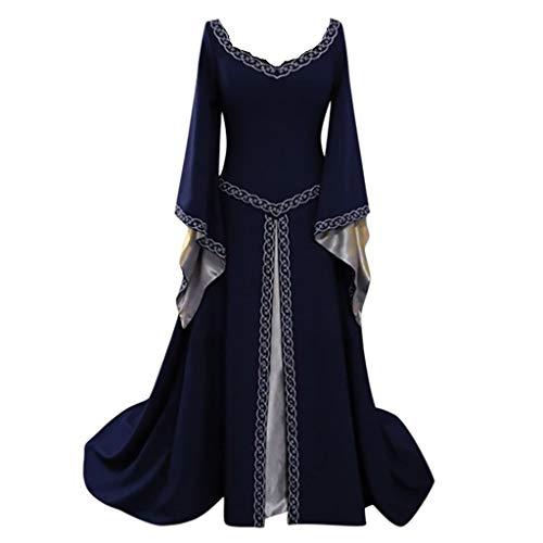 Setsail Damen Vintage-Stil mit Kapuze Kleid Langarm Mittelalter Kleid Hexenkostüm Umhänge Vampir, Gothic Viktorianischen Prinzessin Renaissance Bodenlanges Kapuzenkleid (Blau, 4XL)