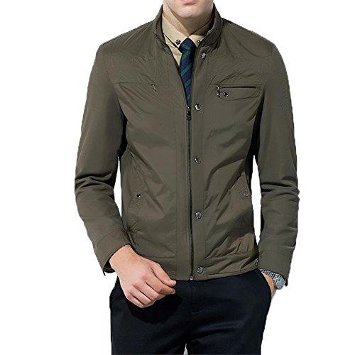 ZQQ Uomo Primavera Autunno moda Grande colletto della giacca Parka Trench Blazer Cappotti , green , 210