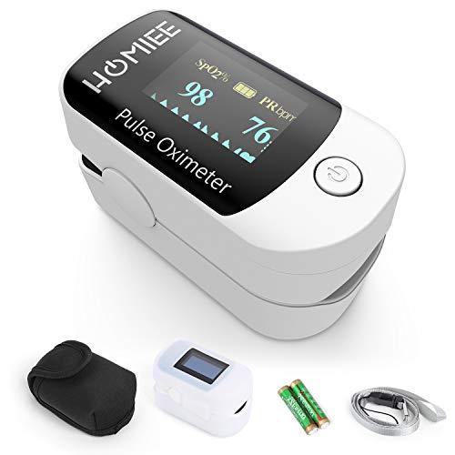 HOMIEE Finger Pulsoximeter,Oximeter Digitaler rotierenden OLED Bildschirm Messen Sauerstoffgehalt im Blut SpO2, Finger Herz Sauerstoffsättigung Herzfrequenz Monitor