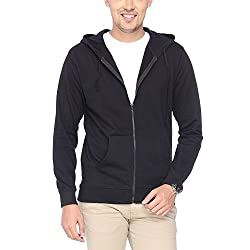 Campus Sutra Black Zipped Men Hooded Sweatshirt