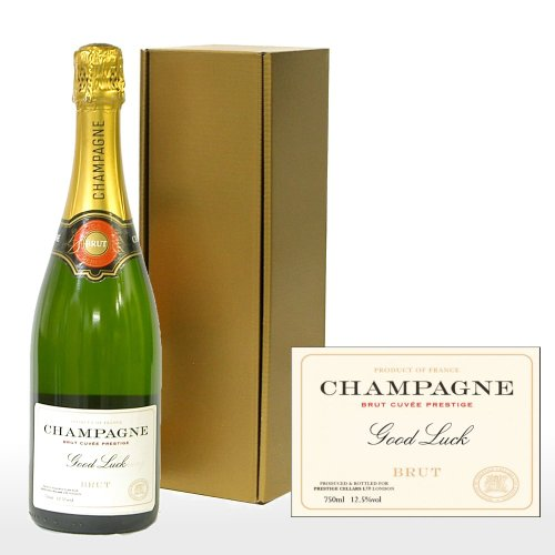 Fine Food Store Personalised Premium Fine Champagne in Gold Gift Box with 'Good Luck' Label NV 75 cl