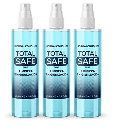 Pack Familiar Total Safe 3 x 200ml Spray | Ideal para una higiene profunda de manos - Hidroalcoholico envase con Aerosol Blue | Antiséptico para desinfectar cualquier superfice