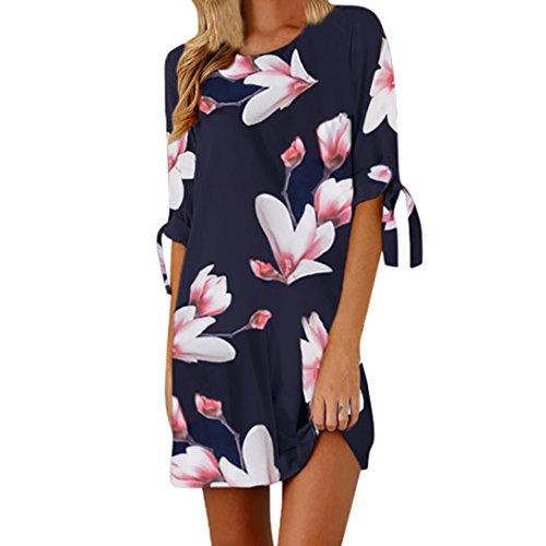 Fuibo Damen Kleid, Womens Blumendruck Bowknot Ärmel Cocktail Minikleid Casual Party Dress   Sommerkleid Abendkleid Partykleid Cocktailkleid (XL, Blau)