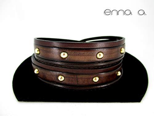 Pulsera doble de cuero, pulseras de vueltas, accesorios mujer, accesorios de cuero, brazaletes cuero, pulseras unisex, pulsera marrón, piel