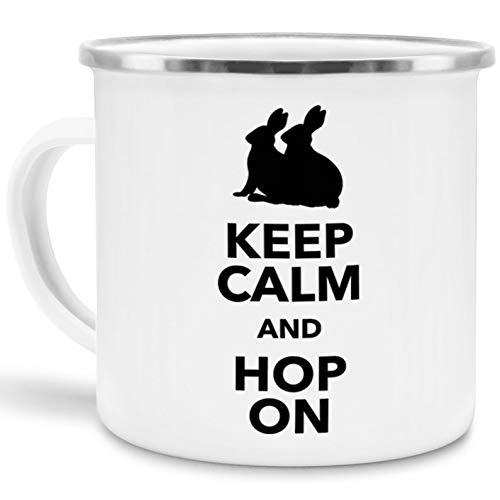 Tassendruck Emaille-Tasse mit Spruch Keep Calm and Hop on - Ostern/Witzig / Edelstahl-Becher/Metall-Tasse/Lustig (Mikrowellen Oster)