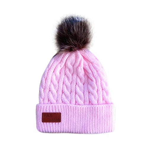 Minshao Baby Boys Girls Beanie Cotton Letter Knitted Ball Warm Hat Cap For 2-8 Years Old