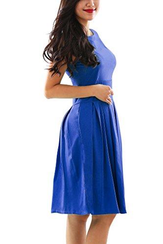 YMING Damen Sommerkleid Ärmellos KnielangesPartykleider Petticoat Kleid Hepburn Stil Swing...