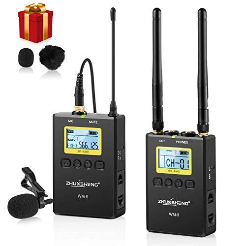 Microfono lavalier wireless professionale UHF a 50 canali con trasmettitore portatile-Microfono wireless DSLR omnidirezionale per intervista YouTube Vlog (1TX + 1RX) -ZHUOSHENG