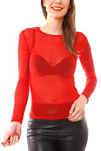 Easy Young Fashion Damen Mesh Langarmshirt Transparent One Size Rot