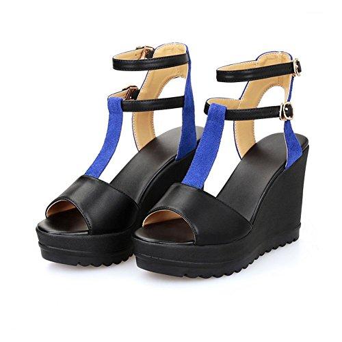 Adee Mädchen ankle-cuff sortiert Farbe Leder Sandalen Blau